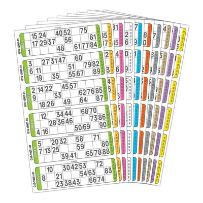20 GAME BOOK 6UP PREMIUM 10 COLOUR AUSTRALIAN MADE BINGO TICKETS